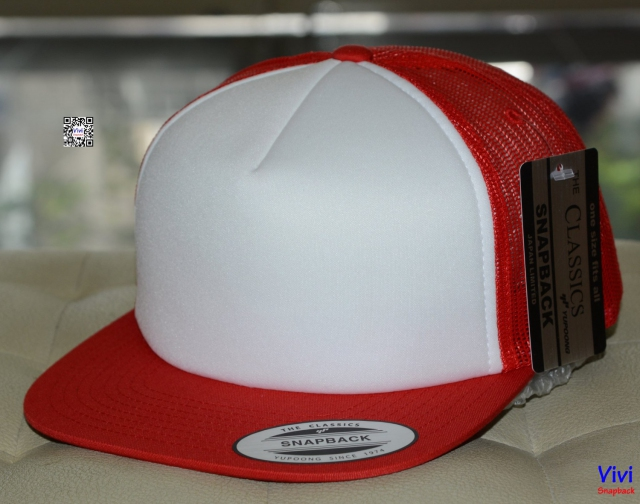 The Classic Yupoong Color Foam Trucker Snapback - Red / Whihe
