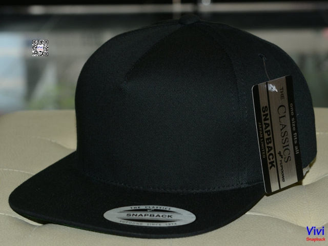 The Classic Yupoong 5 Panel Full Black Snapback