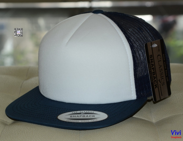 The Classic Yupoong Color Foam Trucker Snapback - Navy/Whihe