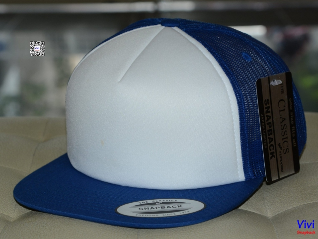 The Classic Yupoong Color Foam Trucker Snapback - Blue/Whihe