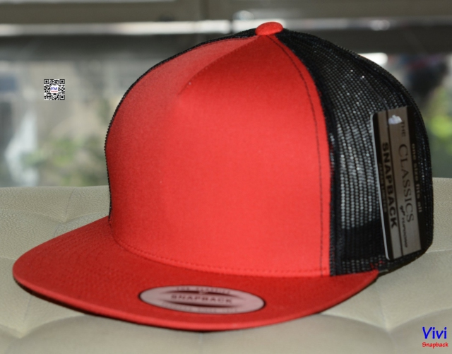 The Classic Yupoong Trucker  2Tone Snapback - Red/Black