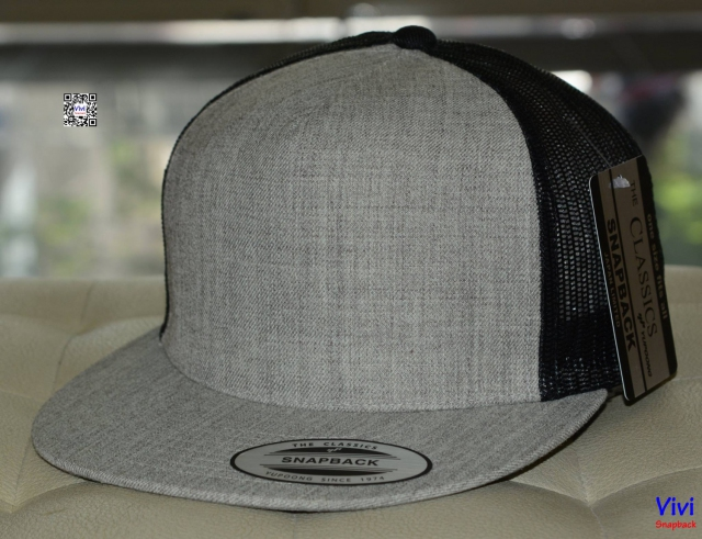 The Classic Yupoong Trucker in Gray /Black Snapback
