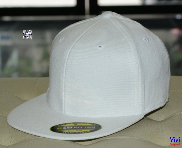 The Premium 210 Flexfit Fitted Full White Snapback