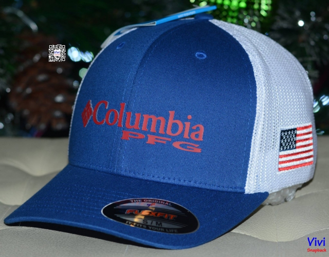 Columbia PFG Mesh Ball Cap Blue/White