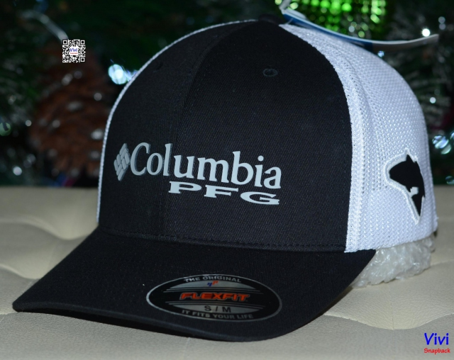 Columbia PFG Mesh Ball Cap - Black/White