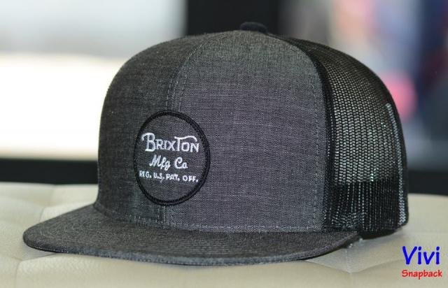 Brixton Wheeler Mesh Maroon Denim Trucker Snapback