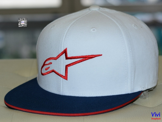 Alpinestars White-Red Ageless Flat Peak Fitted Snapback