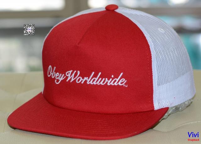 Obey worldwide trucker snapback red