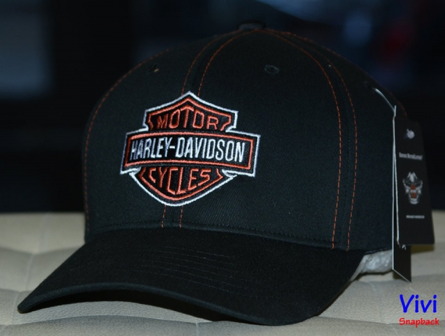 Harley Davidson Men's Contrast Stitch Logo Stretch Fiited Cap