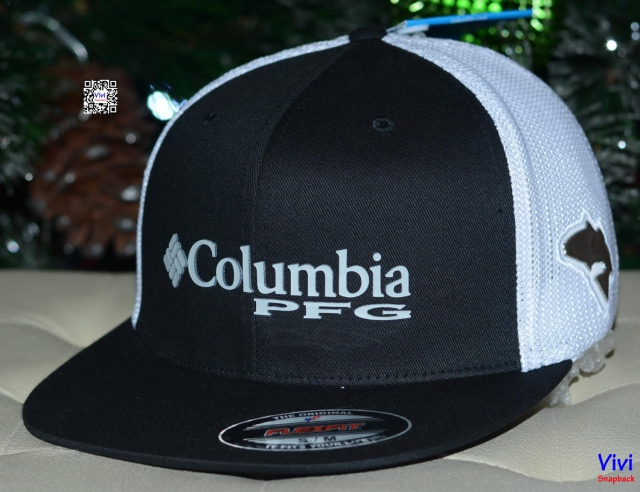 Columbia PFG Fitted Trucker Snapback Black/White