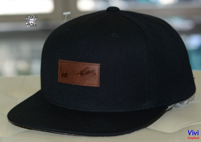 Carleton Long Island Fish Map Under Brim Black Snapback