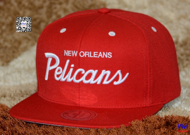 Mitchell & Ness New Orleans Pelicans NBA White Script Snapback Red