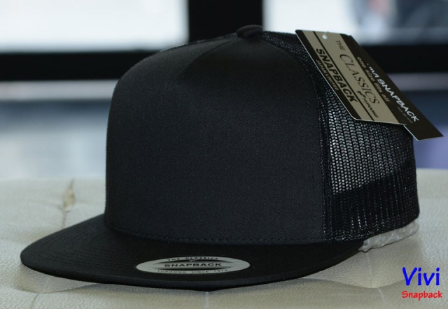 The Classic Yupoong 5 Panel Trucker Full Black Snapback