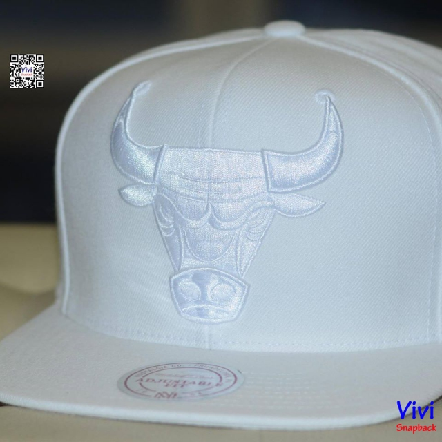 Mitchell & Ness Chicago Bulls NBA Logo Full White Snapback