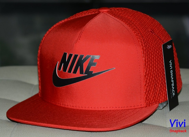 Nike Logo 5 Panel  Trucker Snapback Red