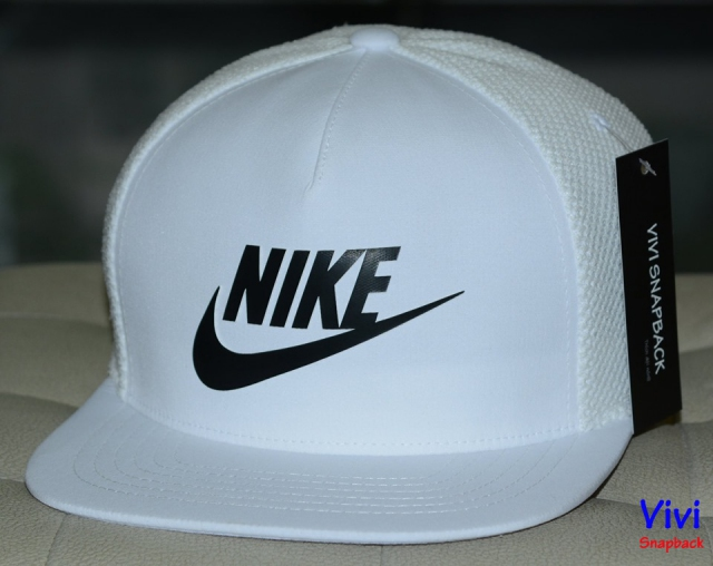 Nike Logo 5 Panel Trucker Snapback White