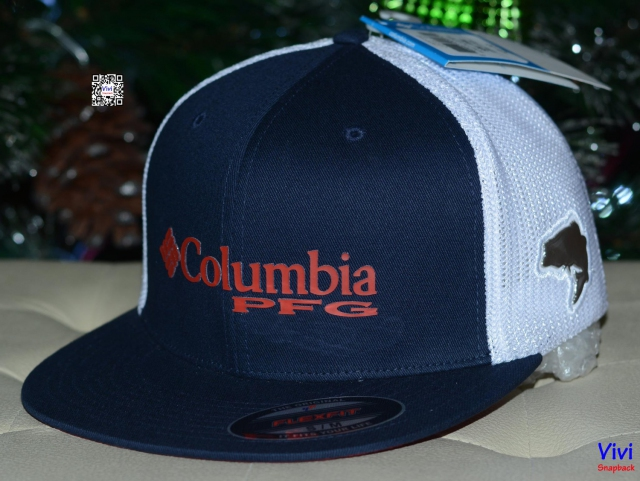 Columbia PFG Fitted Trucker Snapback Navy/White