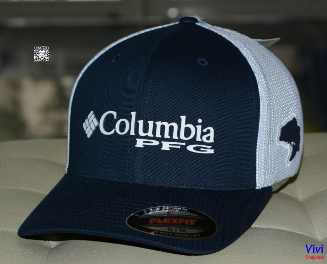 Columbia PFG Mesh Ball Cap - Navy/White